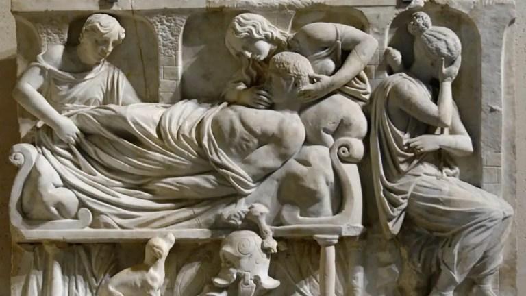 Relieve de un rito funerario en Roma.