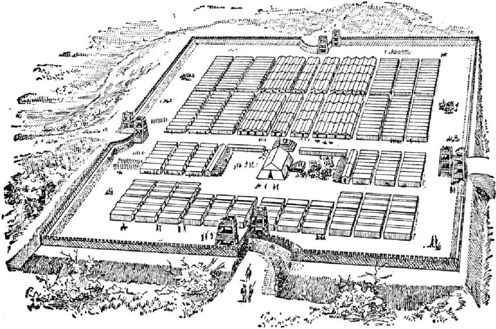 Ilustración de un castrum romano.