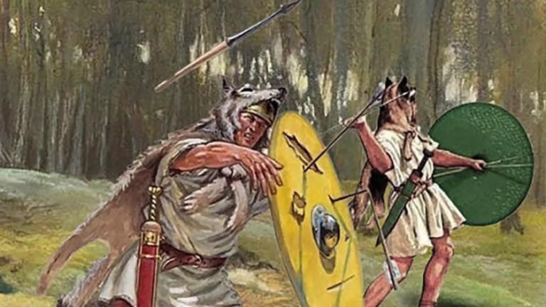 Vélites en batalla, notamos su escudo circular de tipo parma.