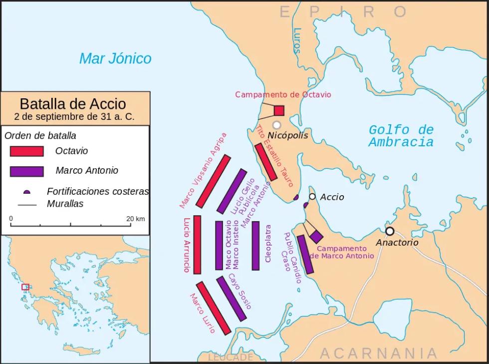 Mapa de la batalla de Accio.