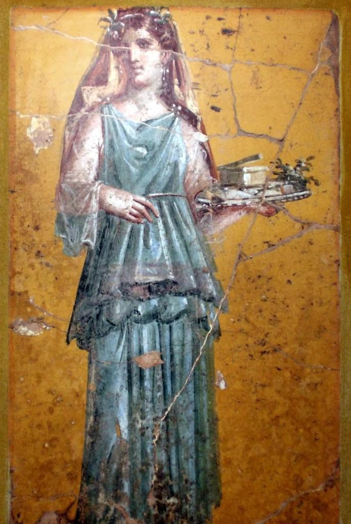 Fresco de una mujer romana utilizando un patagium.