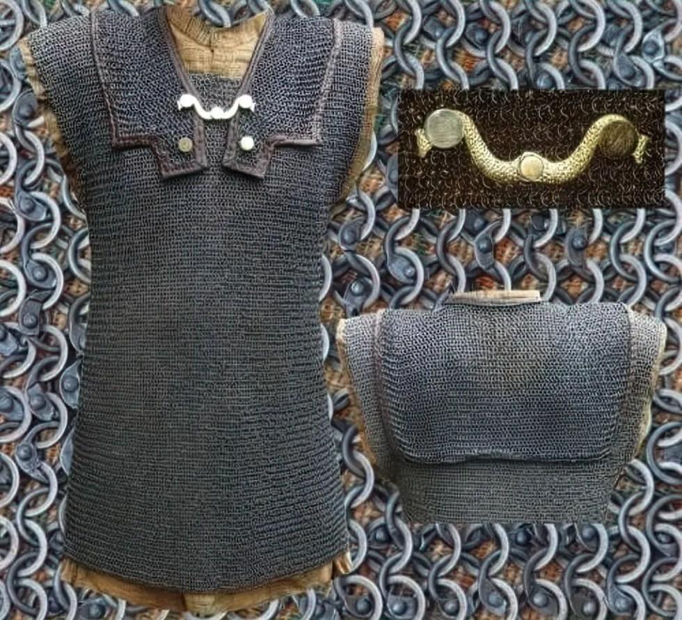 Detalles de una armadura romana del tipo lorica hamata.