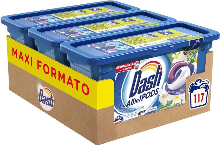 Dash Allin1 Pods 3in1 Detersivo Lavatrice in Capsule Orchidea Bianca, Maxi Formato da 3 x 39 Pezzi, 117 Lavaggi