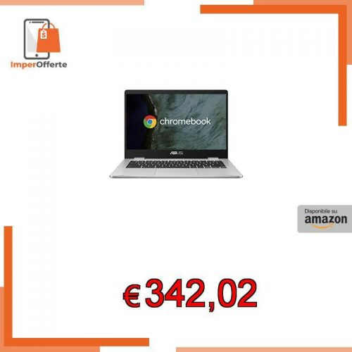 ASUS Chromebook C423NA-EC0314, Notebook in alluminio con Monitor 14″ FHD Touchscreen Glossy, Intel Pentium N4200, RAM 4GB LPDDR4, 64G eMMC, Sistema operativo Chrome, Argento [CB]
