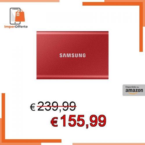 Samsung Memorie T7 MU-PC1T0R SSD Esterno Portatile da 1 TB, USB 3.2 Gen 2, 10 Gbps, Tipo-C, Rosso Metallico