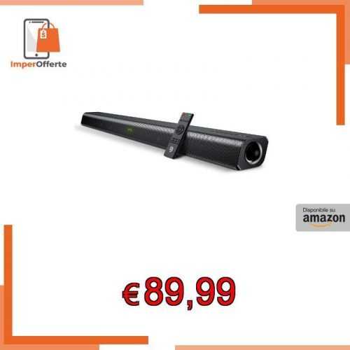 Soundbar 2.0 Canali Bomaker , Potenza 120W 110dB, Bluetooth 5.0, 37 Pollici, Tecnologia DSP 3D Bass Surround per Home Cinema, 6 Modalità Audio, Ottica/USB/HDMI ARC/AUX, Nero