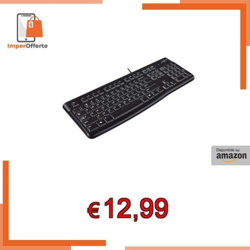 Tastiera Cablata Business Logitech K120  per Windows/Linux, USB, Tasti Silenziosi, Anti Schizzi, Barra Spaziatrice Curva, PC/Laptop, Layout Italiano QWERTY
