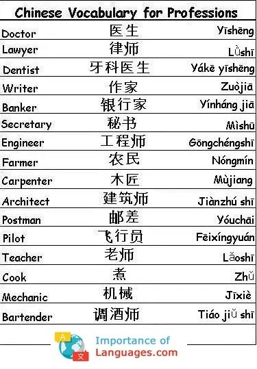 Chinese Words for Professions