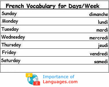 French Words for Days / Weeks