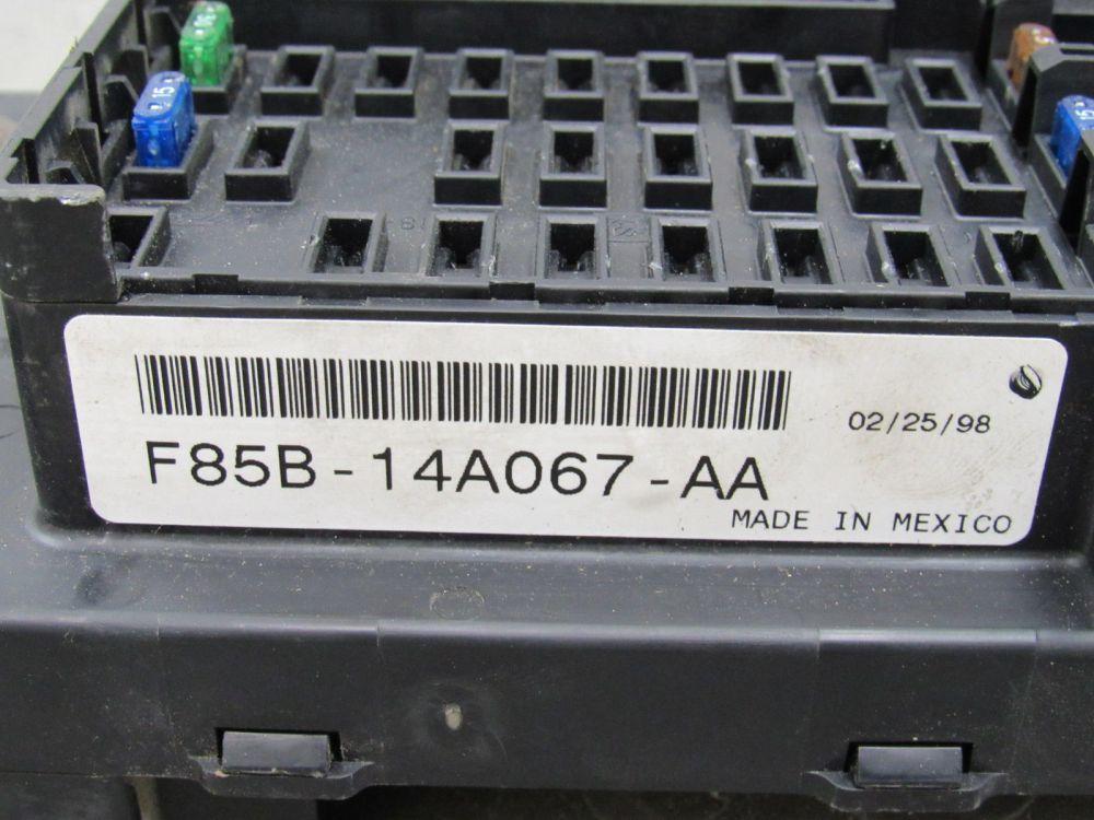 medium resolution of 97 98 ford f150 interior dash fuse box junction relay block f85b 14a067