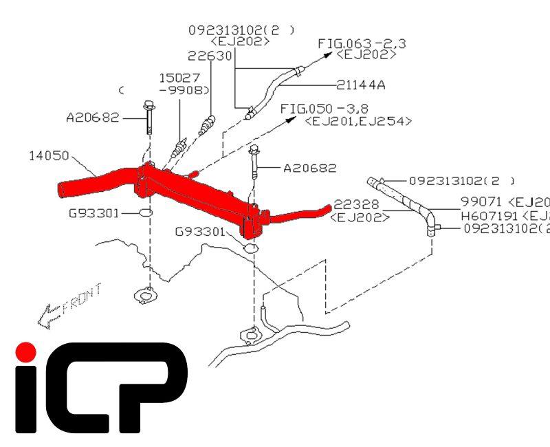 Upper Coolant Transfer Pipe Fits: Subaru Impreza Turbo 92