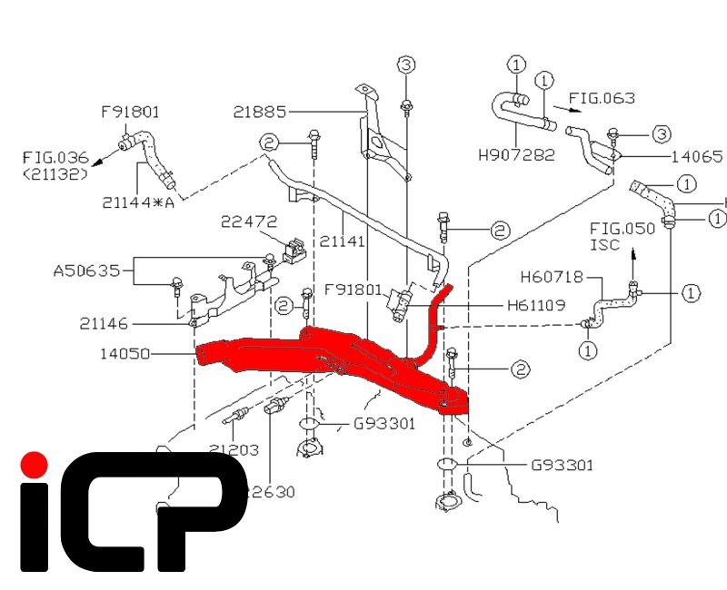 Upper Coolant Transfer Pipe Fits: Subaru Impreza Turbo 99