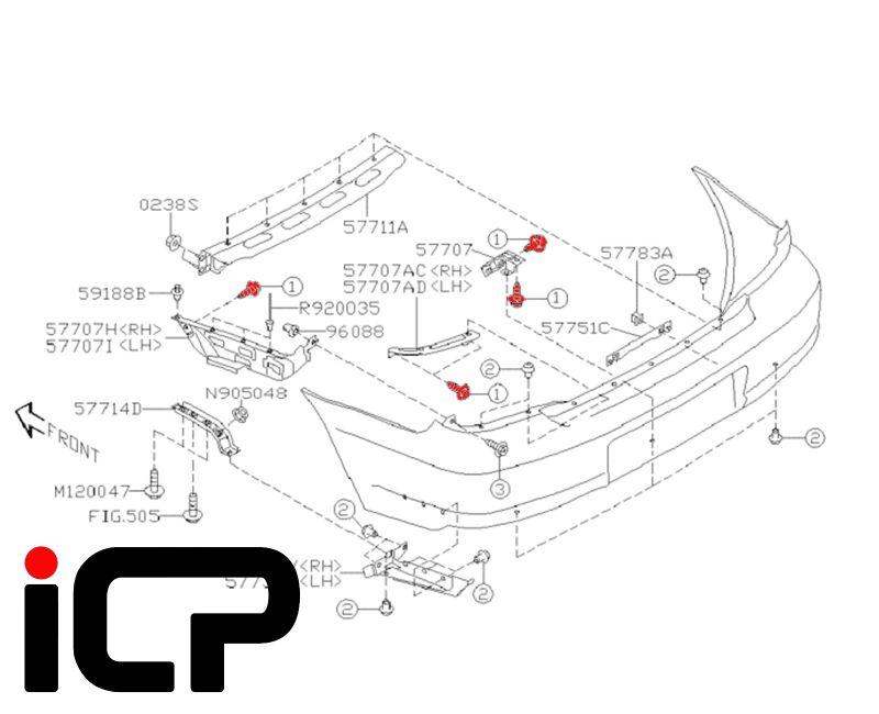 Subaru Impreza 00-07 Rear Bumper Support Bracket Flange