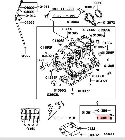 Mitsubishi Lancer EVO 4 5 Oil Jet Screw