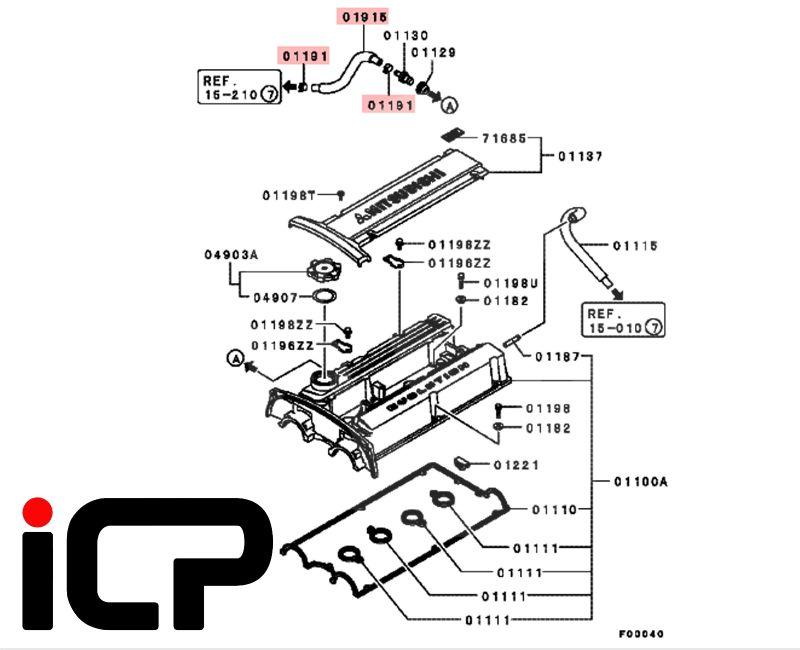 Mitsubishi Lancer EVO 5 6 7 8 9 PCV Valve To Inlet