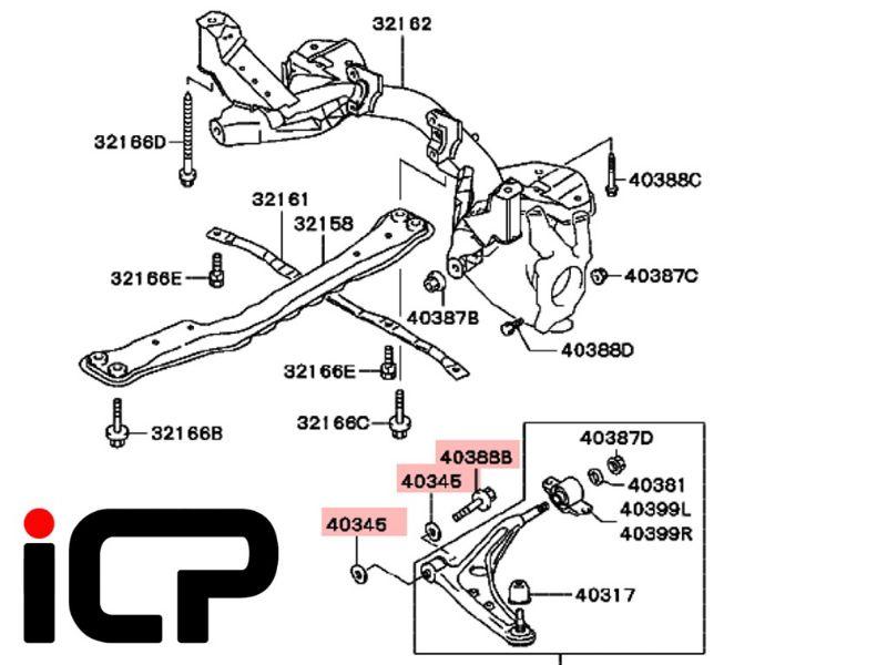 Mitsubishi Lancer EVO 4 5 & 6 Front Lower Arm Front Bolt