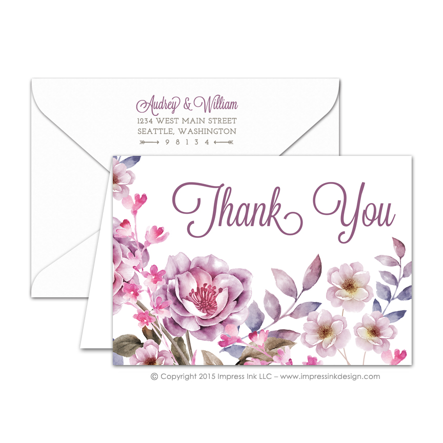 Watercolor Flowers Thank You Cards  Impress Ink