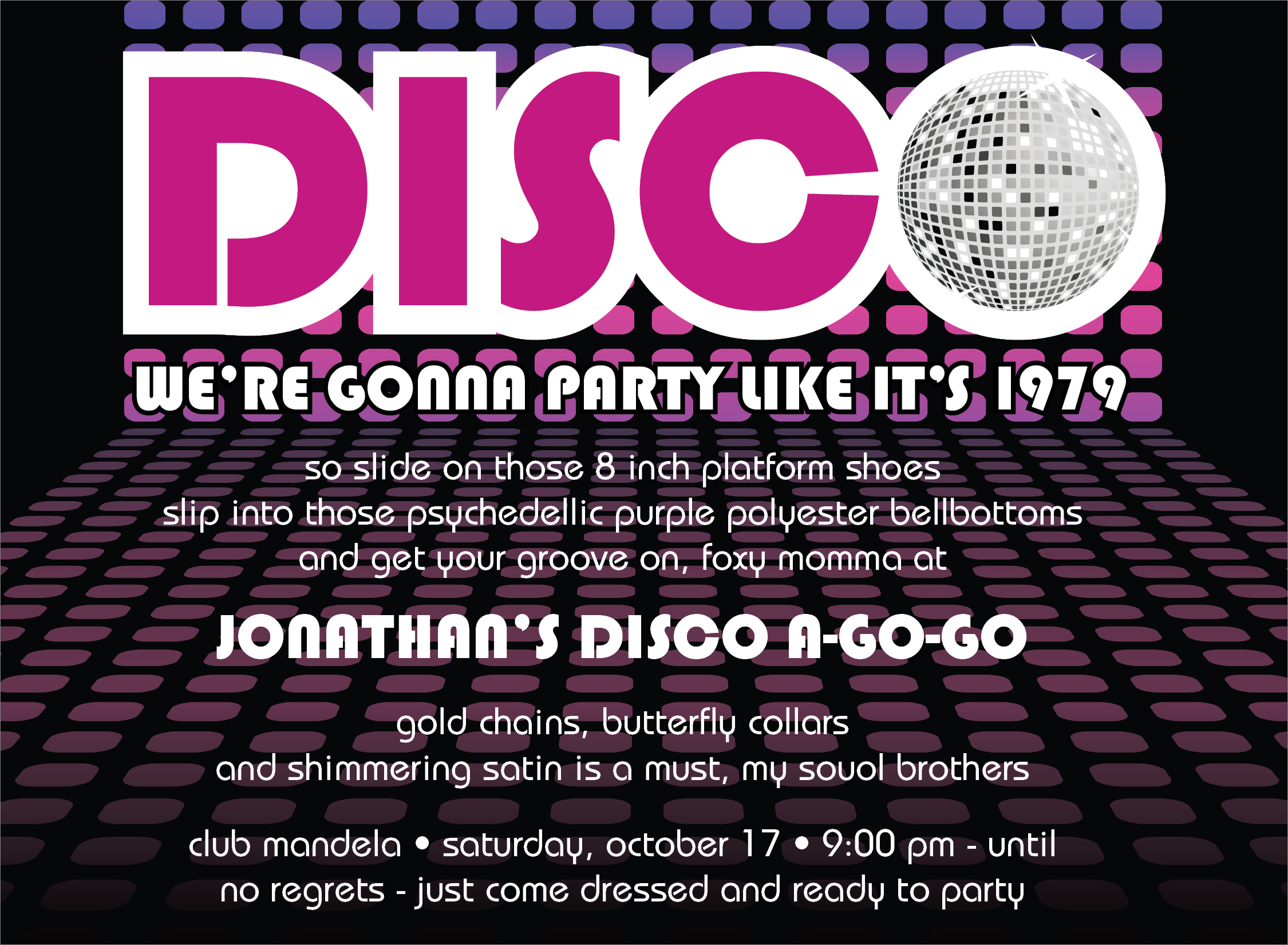 "Quick View ID 1136 ""Disco Ball Invitation"""