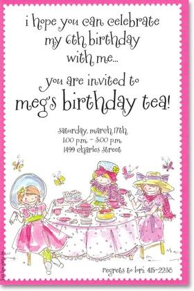 Invitations BIRTHDAY Children Juvenile Girls Girly Tea