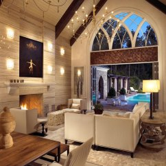 Living Room Lighting Ideas Cathedral Ceiling How To Decorate A Rectangular With Fireplace In The Middle Vaulted Www Elderbranch Com Design
