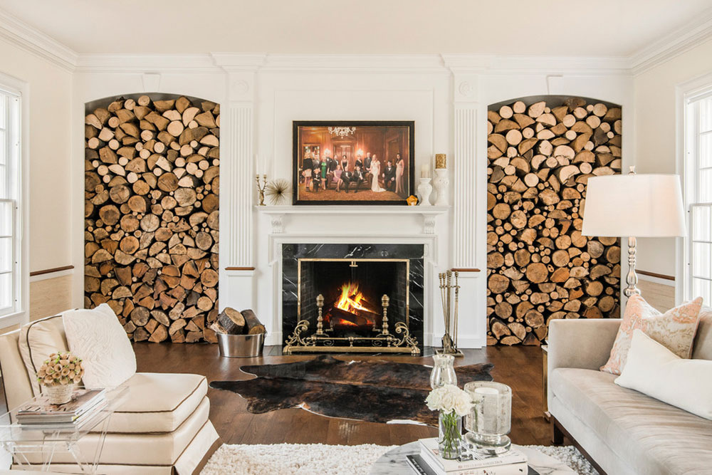 living room firewood holder creative wall painting ideas for storage design storage14