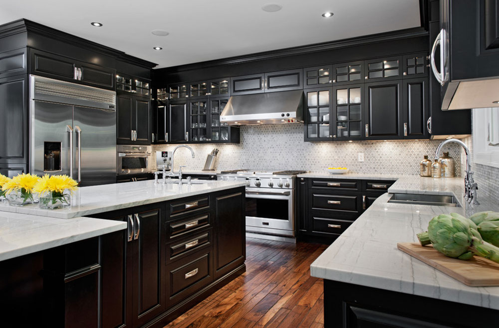 kitchen black cabinets small table and chairs for kitchens with pictures ideas can still be bright5