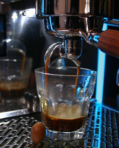 Closeup of an espresso shot being pulled