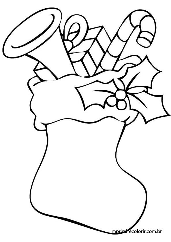 Bota de Natal Desenhos para Imprimir e Colorir