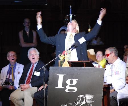 Nobel Laureates Dr. William Lipscomb, Robert Laughlin and Dudley Herschbach analyzing the speech
