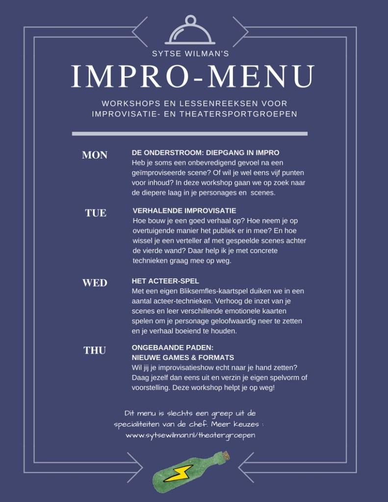 De impro-menukaart: heldere keuzes voor een goede match