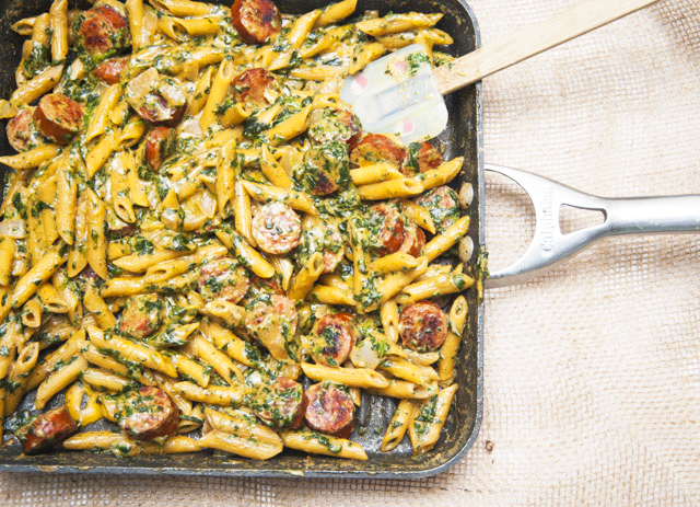 One Pot Creamy Spinach and Italian Sausage Pasta