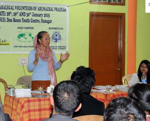 Smt Jarjum Ete, President – National Alliance of Woman Organisation, at Impulse Paralegal Volunteer Training program, Arunachal Pradesh