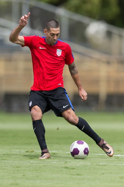 Clint Dempsey and the USMNT train in Miami, Florida on March 21, 2016.