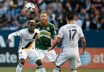 Carson, CA. - April 10, 2016: The LA Galaxy and Portland Timbers played to a 1-1 draw in at at StubHub Center.
