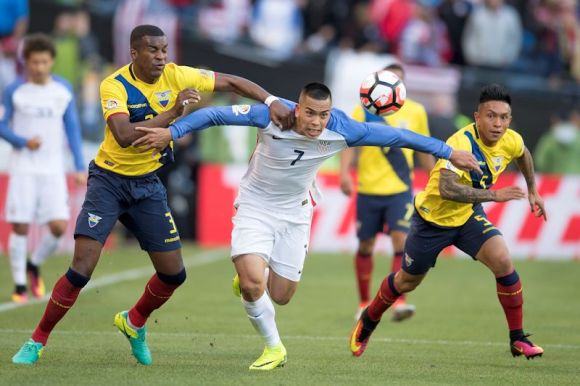 The US Men's National Team defeated Ecuador 2 - 1 on June 16, 2016. Here Bobby Wood (7) relentlessly attacks the Ecuadorian defense. Photo by Omar Martinez.