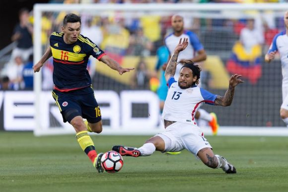 Jermaine Jose (13) slides after the ball on June 3, 2016 in San Jose, Calif. The USMNT lost to Colombia 0 - 2.