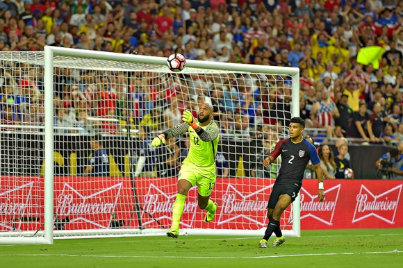Tim Howard, GK for the USMNT, stops a ball from finding the net in the battle for 3rd place between USA and Colombia. Colombia won 0 - 1 in Glendale, Arizona on June 25, 2016. Photo by Isaac Ortiz.