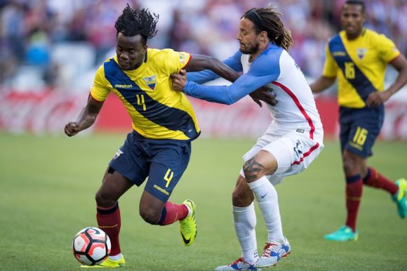 One of the most physical players in the MLS and internationally, Jermaine Jones (blue and white) gets physical with Juan Carlos Paredes of Ecuador during the Copa America Centenario in Seattle on June 16, 2016.