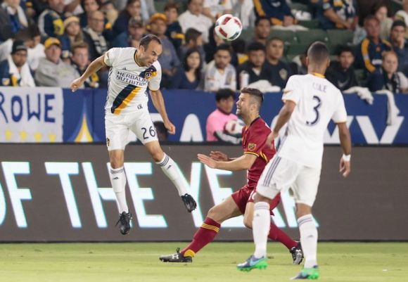 Landon Donovan goes for a header on October 26, 2016 at Stub Hub Center. The Los Angeles Galaxy defeated Real Salt Lake 3 - 1 in the first round of the 2016 MLS Cup. Photo by Michael Janosz.