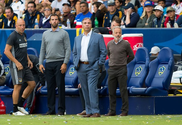 Carson, CA - October 30, 2016: The Los Angeles Galaxy defeat the Colorado Rapids 1-0 in the first game of the Western Conference Semifinals at StubHub Center. Pictured from left: Matt Reis, Kenny Arena, Bruce Arena, and Dave Sarachan.
