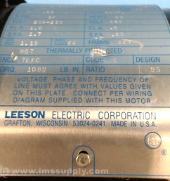 leeson electric co c4t17fz476 0 33 hp a c gearmotor ims supply [ 1080 x 1080 Pixel ]