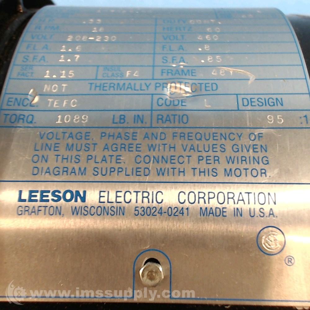 medium resolution of leeson electric co c4t17fz476 0 33 hp a c gearmotor ims supply