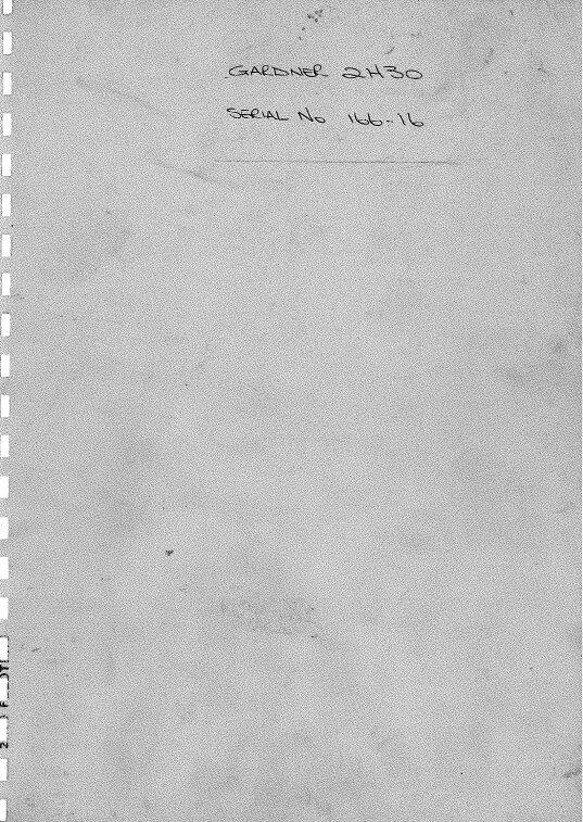 Gardner 2H30 Operator Manual + Parts list