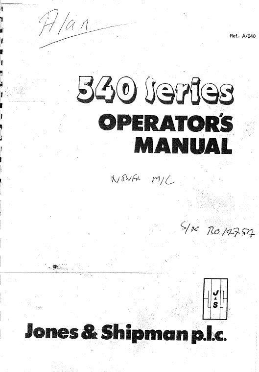 Jones And Shipman 540 Series Operators Manual