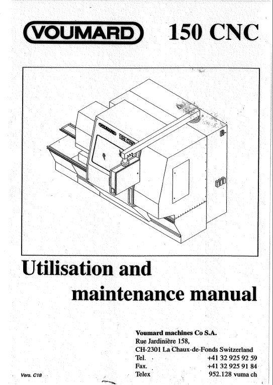 Voumard 150 CNC Utilisation And Maintenance Manual