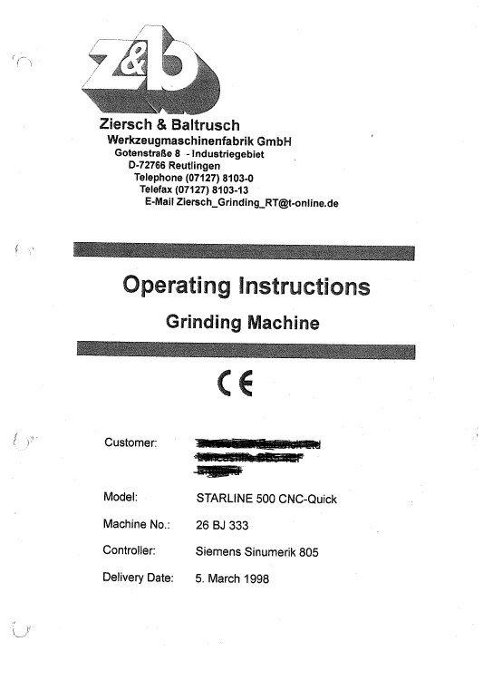 Z&B Starline 500 CNC Operating Instructions