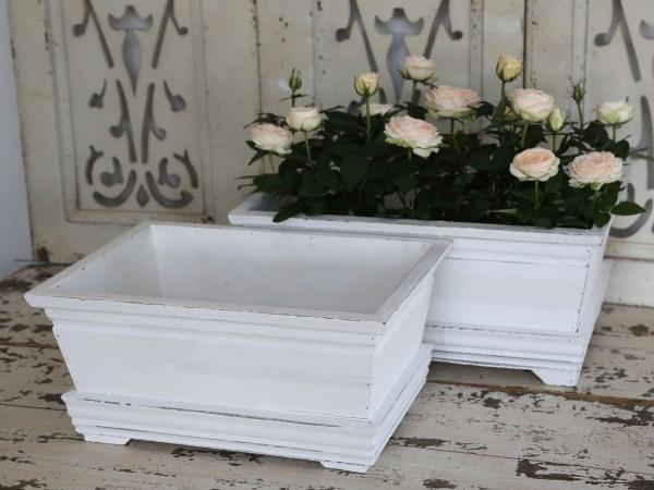 Blumenkasten Antik Weiß2er Set