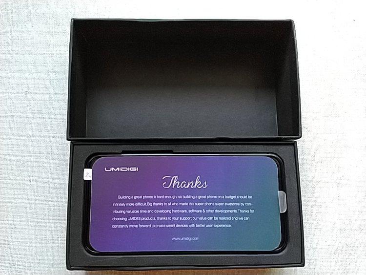 UMIDIGI Z2箱内 メッセージカード