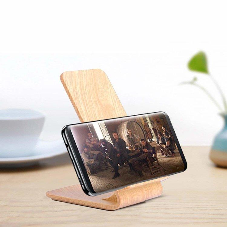 Qi対応木目調ワイヤレス充電スタンド ライトウッド