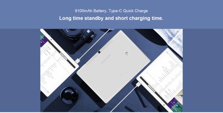 8100mAh大容量バッテリーにクイックチャージ対応